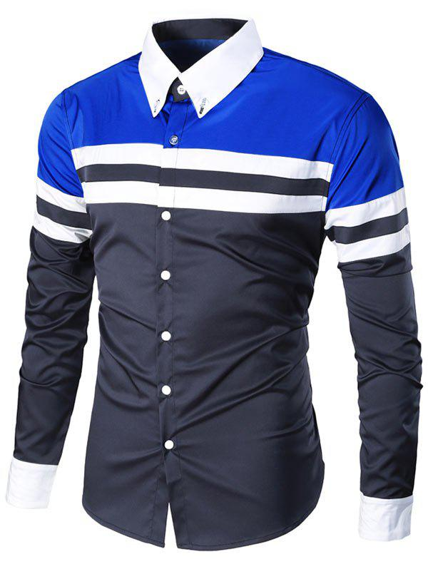 Striped Long Sleeve Button Down Shirt - CADETBLUE/BLUE M
