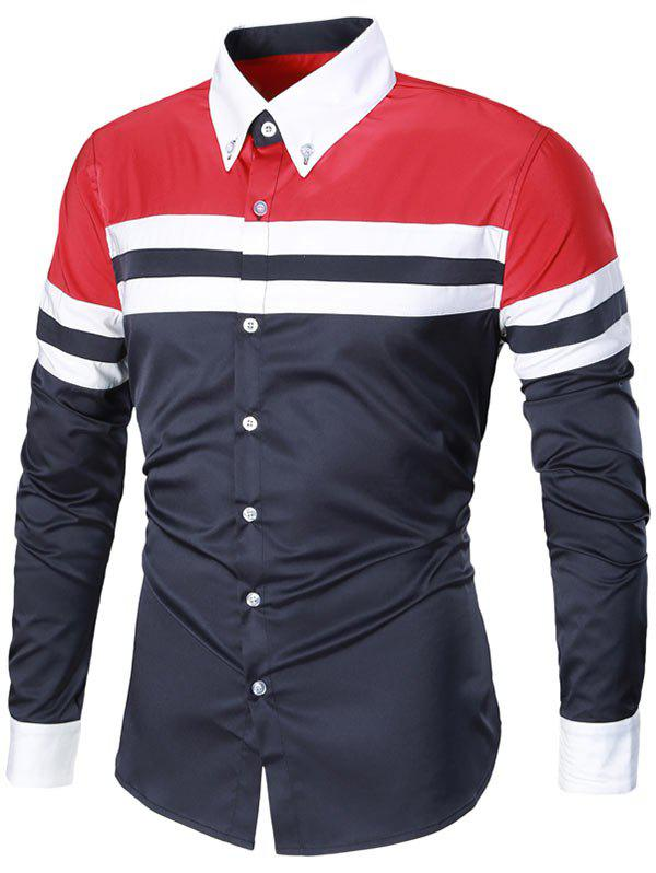 Striped Long Sleeve Button Down Shirt - RED/CADETBLUE 3XL