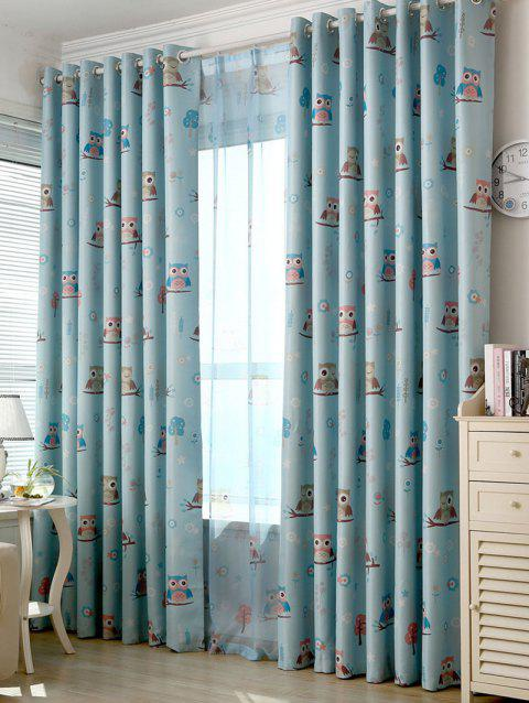 Cartoon Owl Pattern Polyester Blackout Curtain - LIGHT BLUE W42INCH*L63INCH
