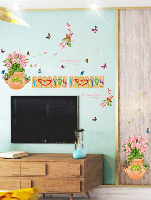 Tulips Fence Print Decoration Wall Sticker - COLORMIX 50*70CM