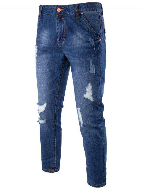 Zipper Fly Distressed Faded Jeans - Bleu 32