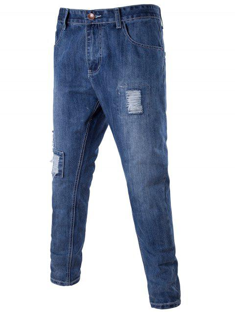 Zip Fly Distressed Patch fuselés Jeans - Bleu XL