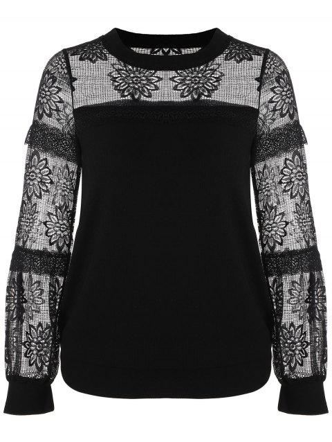 Ribbed Floral Lace Insert Blouse - BLACK XL