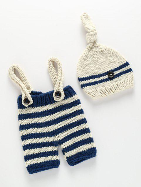 Knitted Baby Suspender Pants and Stripe Beanie - BLUE