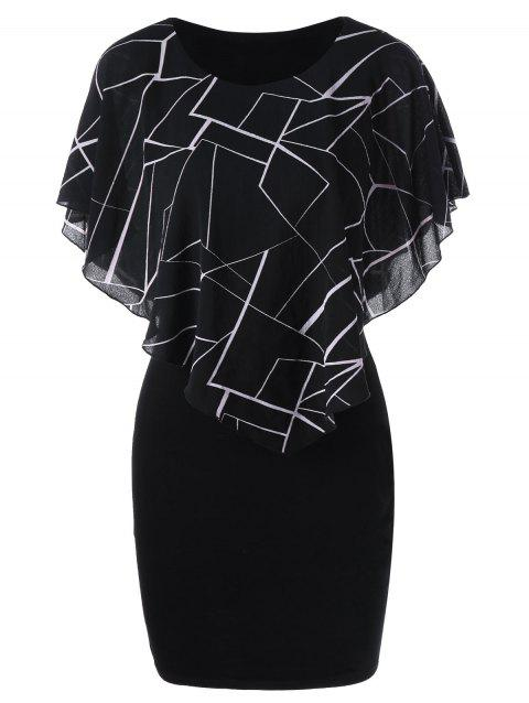 Ruffles Printed Mini Tight Fitted Dress - BLACK 2XL
