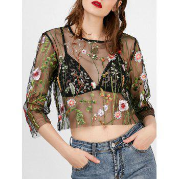 Floral Embroidered Semi Sheer Crop Top