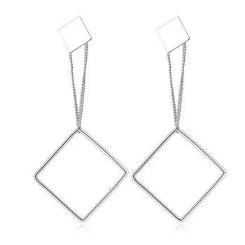 Double Alloy Square Drop Earrings