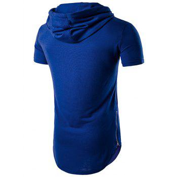 Hooded Zip Hem Side T-shirt Up - Bleu L