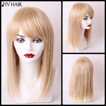 Buy Siv Hair Long Silky Straight Hairstyle Sided Bang Capless Human Wig GOLDEN BROWN/BLONDE
