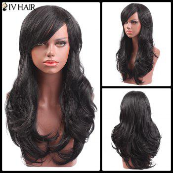 Siv Hair Long Oblique Bang Slightly Curly Capless Human Hair Wig