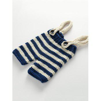 Knitted Baby Sweater Suspender Pants and Stripe Beanie - BLUE
