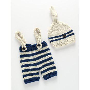 Knitted Baby Sweater Suspender Pants and Stripe Beanie