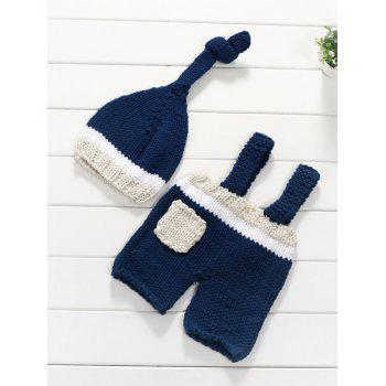 Pocket Baby Sweater Suspender Pants and Knit Beanie