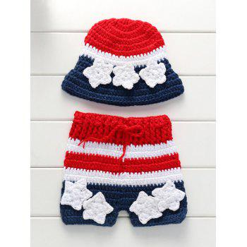 Knitting American Flag Baby Sweater Pants and Flower Embellished Hat