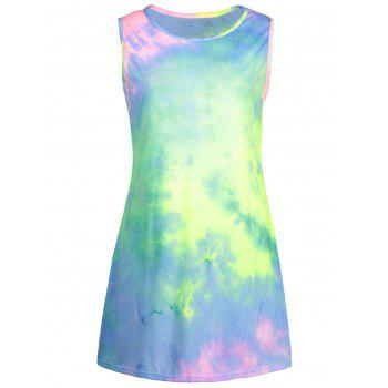 Tie-Dyed Print Ombre Tank Dress