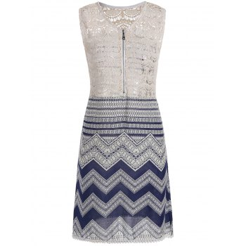 Lace Panel Sleeveless Half Zip Chevron Dress