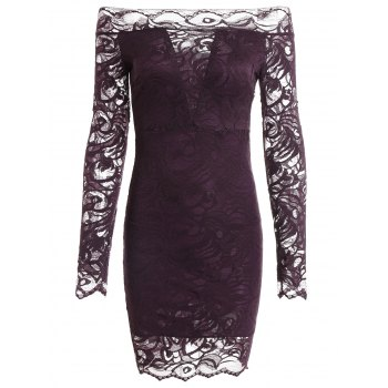 Long Sleeve Off The Shoulder Bodycon Lace Mini Dress