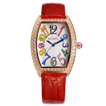 SOUSOU Faux Leather Strap Number Watch