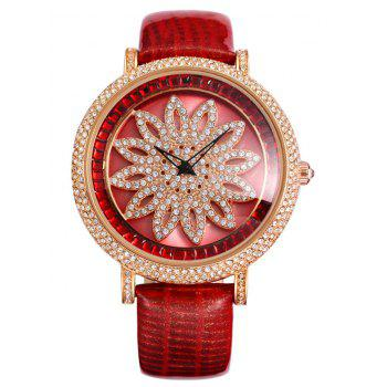 SOUSOU Rhinestone Flower Quartz Watch