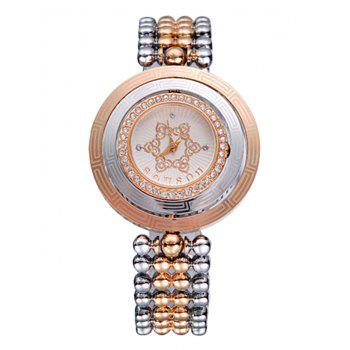 SOUSOU Alloy Strap Round Quartz Watch