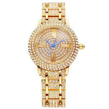 SOUSOU Alloy Rhinestoned Roman Numeral Watch