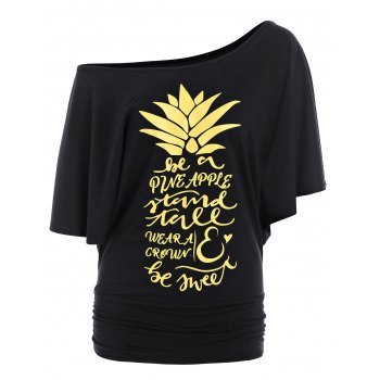 Letters Pineapple Batwing Skew Neck Top