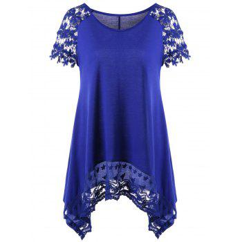 Raglan Sleeve Lace Trim Asymmetric T-Shirt