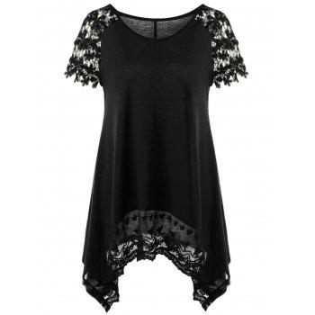 Raglan Sleeve Lace Trim Asymmetric Long T-Shirt