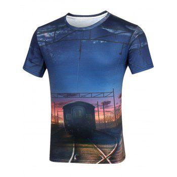 3D Rail Print Short Sleeve T-Shirt