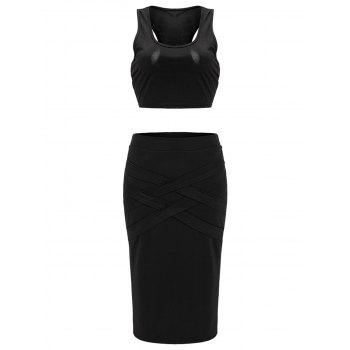 Crop Top and Criss Cross Bodycon Skirt