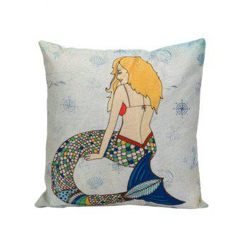 Mermaid Printed Square Pillow Case Cover