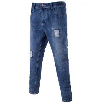 Zip Fly Distressed Patch Tapered Jeans