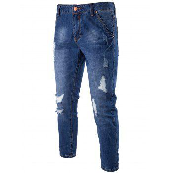 Zipper Fly Distressed Faded Jeans