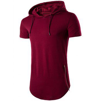 Hooded Hem Side Zip Up T-Shirt