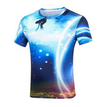 Moonlight 3D Print Short Sleeve T-Shirt