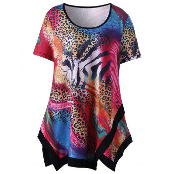 Plus Size Leopard Asymmetric T-Shirt