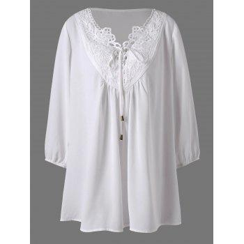 Applique Lace Up Plus Size Blouse