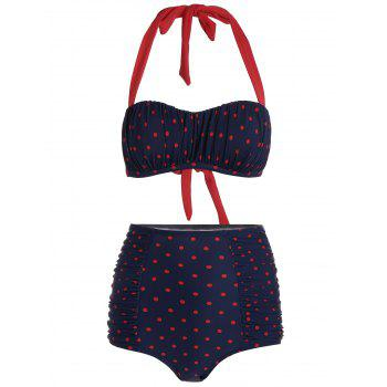 High Waisted Polka Dot Halter Bikini