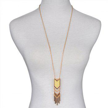 Alloy Geometrical Fringe Sweater Chain - GOLDEN