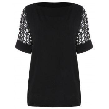 Openwork Chiffon Boat Neck Top