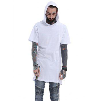 Side Drawstring Design Hooded Zipper T-Shirt
