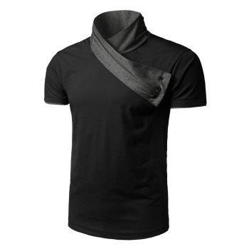 Scarf Collar Two Tone T-Shirt