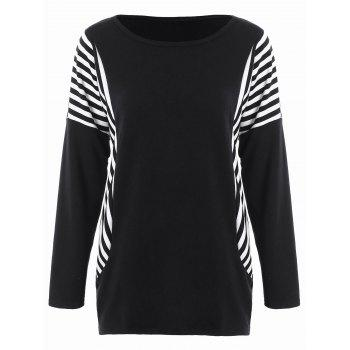 Dolman Sleeve Stripe Plus Size Top