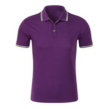 Striped Trim Half Buttoned Polo Shirt