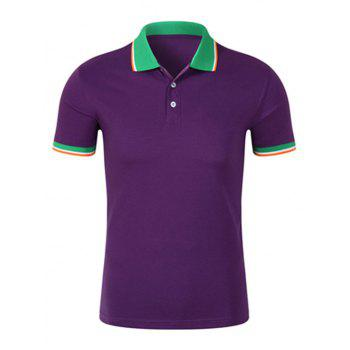 Contrast Trim Half Button Polo Shirt