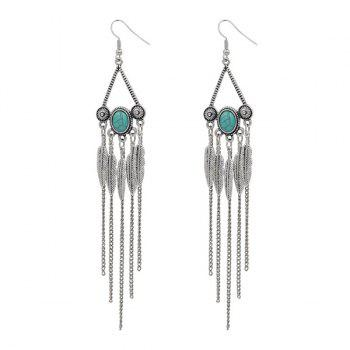 Faux Turquoise Triangle Fringed Leaf Earrings