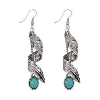 Faux Turquoise Alloy Leaf Earrings
