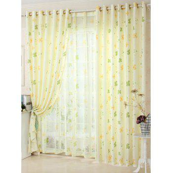 Cartoon Lucky Four Leaf Clover Pattern Window Curtain