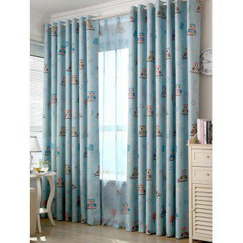 Cartoon Owl Pattern Polyester Blackout Curtain