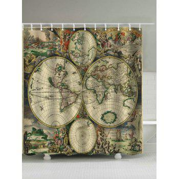 Retro Map Print Removable Shower Curtain